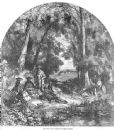 FISHING 1856: River scene. Birket Foster. Old Antique Print.